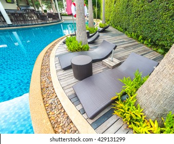 25 May 2016, Hua-Hin swimming pool of luxury hotel in summer thailand.