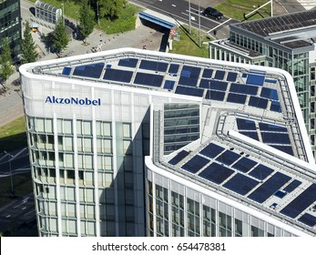 25 May 2017, Amsterdam, Holland. Aerial view of brand new high rise office building in the Amsterdam Zuidas, the business district. This is the roof and logo of the headquarter of AkzoNobel Center.