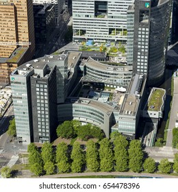 25 May 2017, Amsterdam, Holland. Aerial view of brand new high rise office building in the Amsterdam Zuidas, the business district. This is the headquarter of ABNAMRO Bank.