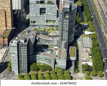 25 May 2017, Amsterdam, Holland. Aerial view of brand new high rise office building in the Amsterdam Zuidas, the business district. This is the headquarter of ABN AMRO Bank.