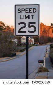 25 mph speed limit sign for neighborhood street