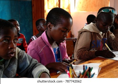 25 October 2017-Franciscan Center of Pomerini-Tanzania-Africa-A group of unidentified African students during after-school activities in the Franciscan Center of the Village of Pomerini in Tanzania