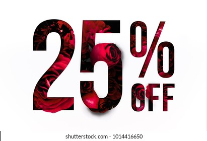25% off discount promotion sale Brilliant poster, banner, ads. Precious Paper cut with Real red rose flowers for your elegant and unique selling poster / banner promotion offer percent discount ads.