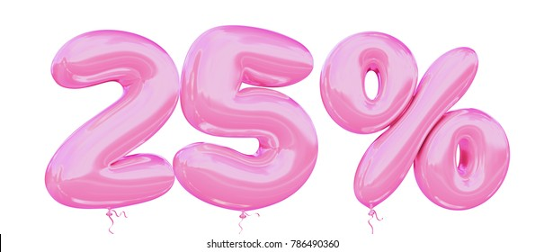 25% off discount promotion sale made of realistic 3d Pink helium balloons. Illustration of balloon percent discount collection for your unique selling poster, banner ads; Valentine's day sale and more