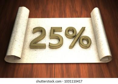 25 per cent, golden numbers, over open paper, 3d rendering