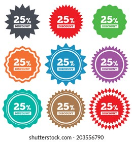 25 percent discount sign icon. Sale symbol. Special offer label. Stars stickers. Certificate emblem labels.