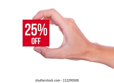 25 Percent off symbol handheld isolated on white background