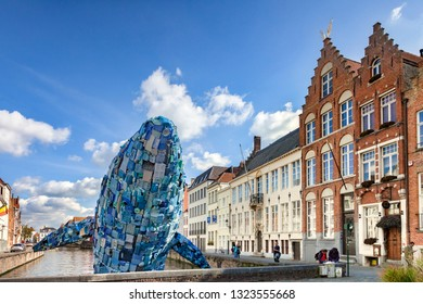 25 September 2018: Bruges, Belgium - The Bruges Whale, known as Skyscraper, made from  5 tons of plastic waste pulled out of the Pacific Ocean, for the 2018 Bruges Triennial, by Studiokca.