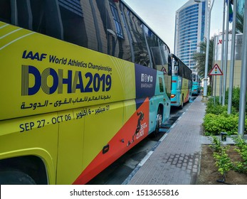 25 September 2019; Doha, Qatar:  buses carrying delegates of IAAF world athletics championship 2019
