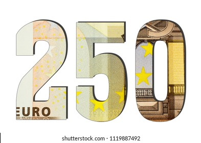 250 3d Number. Euro banknotes. Money texture. Isolated on white background. Currencie of the European Union