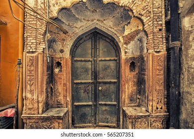 A 250 years old entrance gate of a home in Old Delhi area