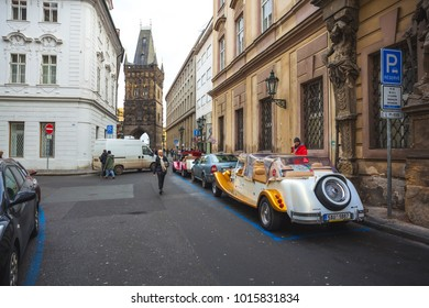 25.01.2018 Prague, Czech Republic - old cars for a walking tour in the old district of Prague.