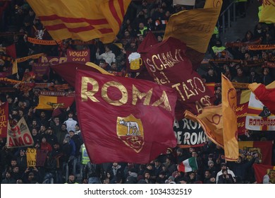 25.02.2018. Stadio Olimpico, Rome, Italy. Serie A. AS Roma vs Ac Milan. Curva Sud supports As Roma  during the Serie A football match Roma vs Milan at Stadio Olimpico in Rome.