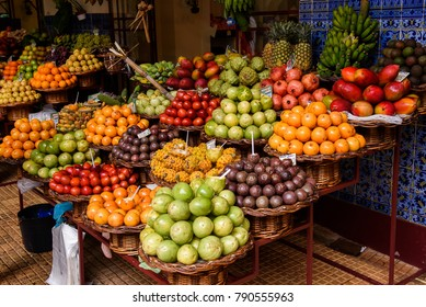 25.05.2017. Madeira,Portugal. Different type of fruits at Funchal market.