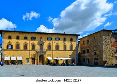 25.05.2019. Detail of main square in old historic alley in the medieval village of Sansepolcro near city of Arezzo in Tuscany,