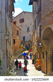 25.05.2019. Detail of narrow street in old historic alley in the medieval village of Anghiari near city of Arezzo in Tuscany, Italy