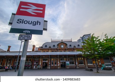 25/05/2019 Slough, England .Slough train station with a railway sign in the front .