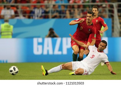 25.06.2018. Saransk, Russian:ANDRE SILVA, OMID EBRAHIMI  in action during the Fifa World Cup Russia 2018, Group B, football match between IRAN V PORTUGAL  in MORDOVIA ARENA STADIUM in SARANSK.