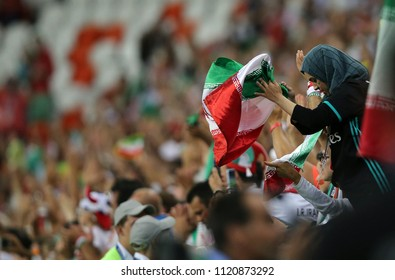 25.06.2018. Saransk, Russian:DELUSION IRANIAN FANS  AT END OF Fifa World Cup Russia 2018, Group B, football match between IRAN V PORTUGAL  in MORDOVIA ARENA STADIUM in SARANSK.