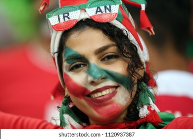 25.06.2018. Saransk, Russian:IRAN SUPPORTERS ON THE STANDS in  the Fifa World Cup Russia 2018, Group B, football match between IRAN V PORTUGAL  in MORDOVIA ARENA STADIUM in SARANSK.
