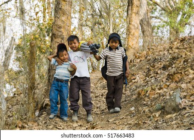 25/07/05, Three adorable children walk on the beauty autumn day in the mountains in Jalapa in Guatemala. EDITORIAL