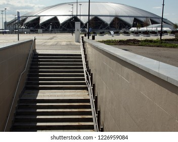 25.08.2018. Samara. Russia. View and landscape of the stadium, Samara Arena football stadium. Samara - the city hosting the FIFA World Cup in Russia in summer 2018.