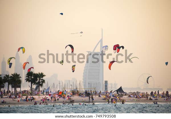 25/10/2017. Kite beach in Jumeirah, Dubai, United Arab Emirates. A stretch of the beach designated for the kite surfers. The iconic Burj Al Arab is seen on the background.