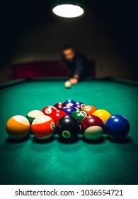 25/5000 Man playing billiards