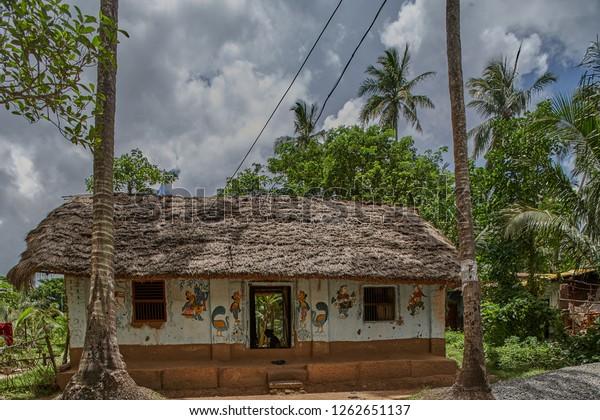 25jul2007village House On Way Raghurajpur Orissa Stock Photo (Edit