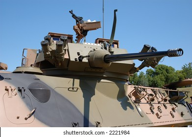 25mm gun of armoured amphibious troop carrier