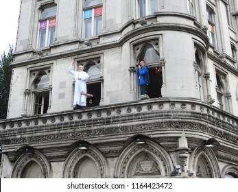 25th August 2018, Dublin, Ireland.  Papal visit to Ireland. A waxwork of the pope is placed on a windowsill on Westmoreland Street to celebrate Pope Francis's tour through the city in his pope mobile.