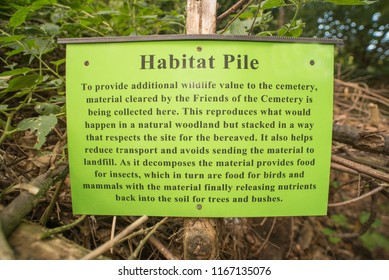 25th. August, 2018. Margate Cemetery, Kent, UK. The Habitat Pile is the vegetative recycling system used in this cemetery while also providing habitats and food for multiple insects and small mammals.