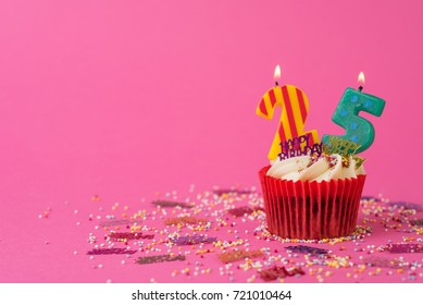 25th Birthday cupcake pink background