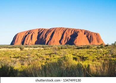 25th December 2018, Sydney NSW Australia : Scenic view of Uluru with clear blue sky on sunny summer day in NT outback Australia