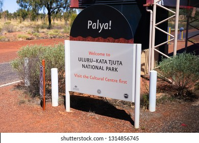25th December 2018, Uluru NT Australia: Entry Sign of Uluru Kata Tjuta national park in NT Australia