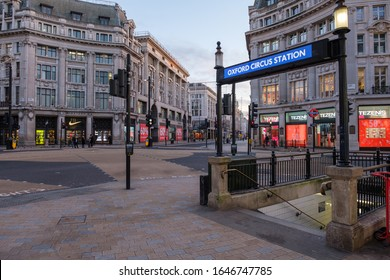 25th December 2019 - London, UK - Empty Oxford Circus on Christmas Day 2019, no tourists