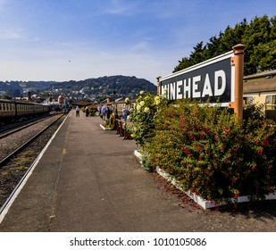25th. January 2018. Minehead Railway Station West Somerset Heritage Railway England UK. View from the platform. Passengers and tourists in distance.