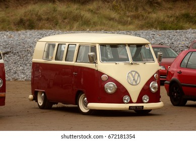 25th June, 2017- A classic Volkswagen Campervan at a hot rod event in Pendine, Carmarthenshire, Wales, UK.