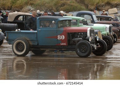 25th June 2017- A vintage American Ford truck at a hot rod event on the sandy beach in Pendine, Carmarthenshire, Wales, UK.