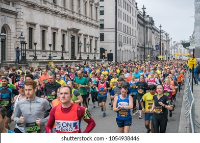 25th March 2018 - London, UK. Runners in central London participate at London Landmarks Half Marathon.