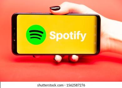 26 08 2019 Tula: Spotify on the phone display. Logo