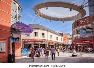 26 August 2016; Workington, Cumbria, England - Shoppers in Risman Place.
