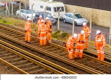 26 December, 2015, St Leonards on sea, UK, Maintenance team of engineers working on the railway lines