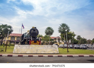 26 December 2017,Nakornrachasima,Thailand : retire old head train decoration landmark of Nakorn Rachasima province call Jira train station that the buggest transportation to northeastern of Thailand