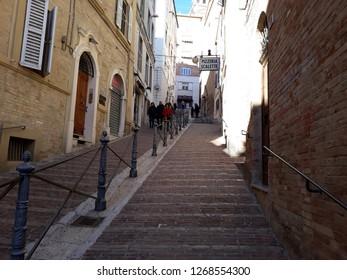 26 DECEMBER 2018- MACERATA, ITALY: Walkway in between buildings in Macerata-Italy.