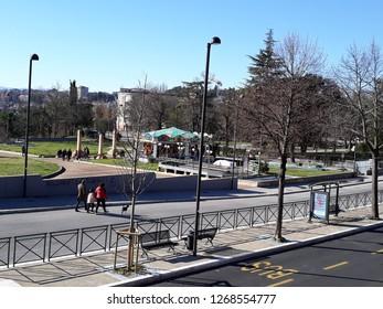 26 DECEMBER 2018- MACERATA, ITALY: street view of Macerata city in italy.