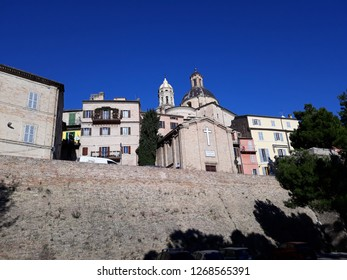 26 DECEMBER 2018- MACERATA ITALY: mostra s sindone building in the middle of other architectural buildings in Macerata-Italy