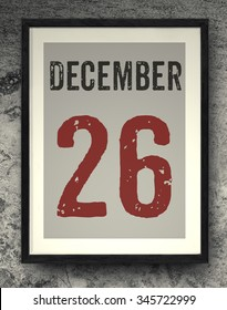 26 december calendar on the photo frame