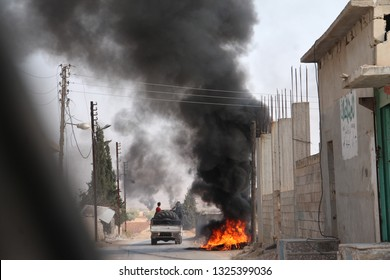 26 feb 2019, idlib, syria : burning objects in north syria because of civil war revolution and bombardment