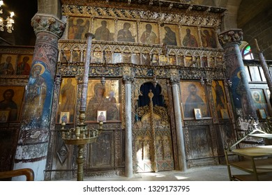 26 February ,2017: Cyprus / Morphou ( Guzelyurt ). Church of St. Mamas monastery in Cyprus. church is attraction in Northern Cyprus. Church interior photo shooting.